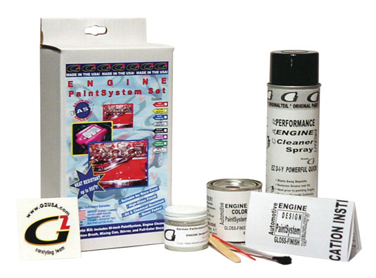 The G2 ENGINE Paint System Set includes a high-performance engine de-greaser, mixing can, stirrer, application brush and a color decal.